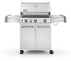 The Weber Genesis® S-330™ gas grill features three main burners, a spacious cooking area, and innovative add-ons—all with a flawless stainless steel finish.