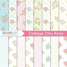 Digital Paper  Cottage Chic Rose   Instant by MyClipArtStore, $2.99