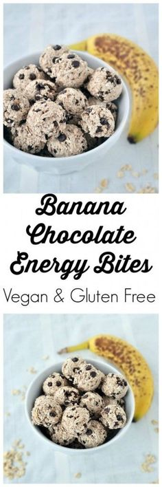 Healthy Snacks Recipes - Vegan, gluten free and nut free 4 ingredient Banana Chocolate Energy Bites - perfect for after school or before a workout - Recipe via My Whole Food Life