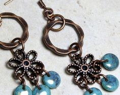 Aqua Blue and Copper Dangle Earrings, Chandelier Earrings, Czech Glass Earrings, Boho Chic Earrings, Bohemian Earrings, Unique Earrings