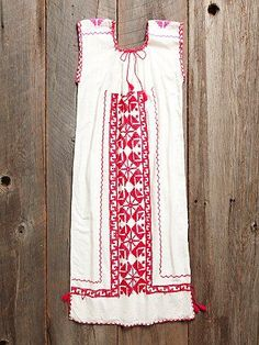 Free People Vintage 1960s Pink Embroidered Dress