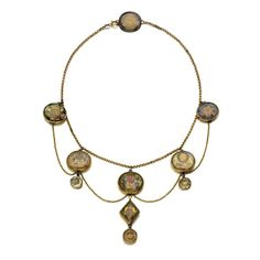 This gold necklace mounted with 10 Stuart crystal mourning slides and buttons, which date from the 1690s or later, sold for £4,375 at Sotheby's in June 2015
