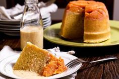 Persimmon steamed pudding with coconut anglaise