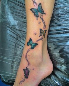 Belly Tattoos, Anklet Tattoos, Foot Tattoos, Cute Tattoos, Beautiful Tattoos, Body Art Tattoos, Tattoos For Guys, Butterfly Leg Tattoos, Butterfly Tattoo Designs