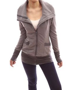 Adorable Fall Jacket  Patty Women Wide/Stand Collar Zip Up Front Pocket Long Sleeve Light Jacket, http://www.amazon.com/dp/B00ADHL8RE/ref=cm_sw_r_pi_awd_KH57rb0XWD49B