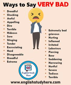 47 ways to say VERY BAD in English – Study English here – Learn English Teaching English Grammar, English Writing Skills, Book Writing Tips, English Vocabulary Words, Learn English Words, English Phrases, Grammar And Vocabulary, English Language Learning, Writing Words