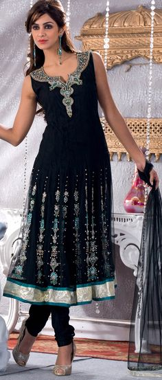 Black Readymade Net Anarkali Churidar Kameez