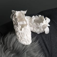 Lola Booties Lace Silk, Silk Ribbon, Cotton Lace, Ribbon Bows, Baby Girl Christening, Christening Gowns, Lace Inset, Lace Overlay, Angel Outfit