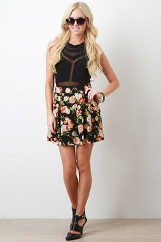 Start spring swinging in sweet skater skirts like this one. The vintage vibe of this floral print gives you a girly advantage!