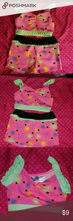 0f9d635654e21 Girl s Dance Bra Top and Shorts Set Bright and fun! Bra Top and Shorts Set.  Freestyle by Danskin size Barely worn.