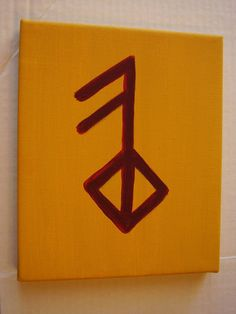 8X10 Viking Rune Symbol of LOVE painting by winterdays on Etsy, $15.00  This is it!! This is the beautiful tattoo I am going to get this summer! Probably not in yellow and red probably just black or very very dark brown.