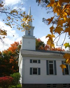 Old clapboard church in fall