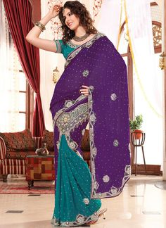 Purple & Teal Georgette Saree Blouse Included