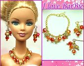 barbie dolls jewelry set barbie blue crystal necklace and earring for barbie dolls