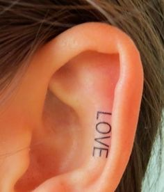Miley Cyrus Inspired LOVE Ear Tattoo #ear #tattoo | tattoos picture ear tattoos