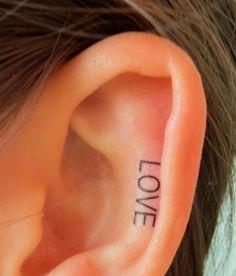 Miley Cyrus Inspired LOVE Ear Tattoo #ear #tattoo | tattoos picture ear tattoos