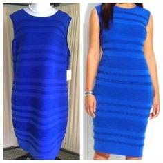 Calvin Klein Plus Bandeau Cobalt Blue Dress Bandeau style bodycon Stretch polyester with rippled detail. Solid cobalt blue, sleeveless, knee length Calvin Klein Dresses Midi
