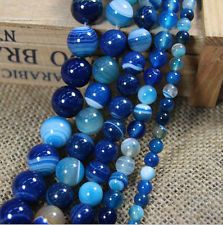 Round Shape Blue Sea Agate Gemstone Charms Loose Spacer Beads DIY 4/6/8/10/12mm