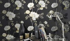 Santa Rosa Black Gold Silver Foil Floral Feature Wallpaper by Holden 97270 Greys Anatomy Derek, Harry Potter Tumblr, Feature Wallpaper, Black Wallpaper, Grey Pattern, Pattern Design, Gatomon, Blue Wallpapers, Dinners For Kids