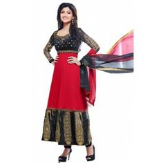 Shop Now - http://www.valehri.com/black-red-shilpashetty-kundra-style-salwar-suit-1367 Price - 3,780 INR Rs