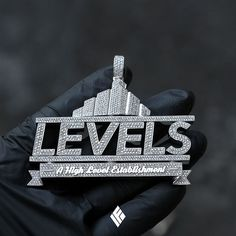 """Custom 14K White Gold Standard-sized """"LEVELS"""" Pendant, Fully Iced Out With White Diamonds. Specially made for @levelsthc #LEVELS #THC #LevelsTHC #CustomJewelry #IFANDCO"""
