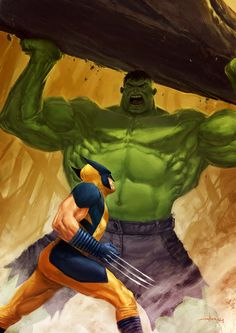 Wolverine vs Hulk by Andrea Meloni Marvel Comics Art, Marvel Comic Books, Marvel Vs, Marvel Heroes, Marvel Characters, Anime Comics, Stan Lee, Jack Kirby, Grudge Match