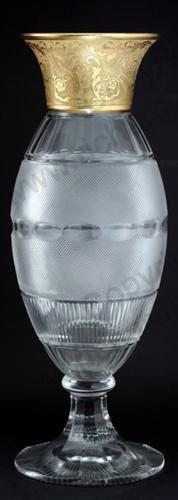 VINTAGE GLASS: CRYSTAL SILVER & GILT. c.1920s MOSER KARLSBAD TALL SPLENDID PATTERN GILDED GLASS VASE. To visit my website click here: http://www.richardhoppe.co.uk or for help or information email us here: info@richardhoppe.co.uk