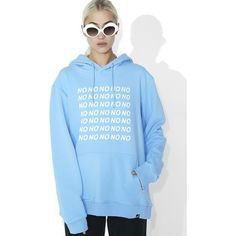 Illustrated People No No No Hoodie ($58) ❤ liked on Polyvore featuring tops, hoodies, pastel tops, hooded sweatshirt, sweatshirt hoodies, hooded pullover and blue hoodies