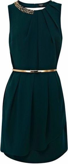 Holiday party dresses, green dress with gold