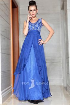royal blue jewel neck sleeveless embroidered empire a line long formal dress