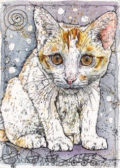 Petra Rau: I love Cats  Watercolour and Ink-Pen  13 x 18 cm