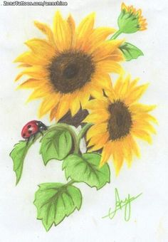 Diseño/Plantilla tatuaje Girasoles Mother And Daughter Tatoos, Lowrider Art, Sunflower Tattoo Design, Nail Decals, Some Ideas, Designs To Draw, Sunflowers, Tattoo Inspiration, Body Art