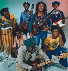 BOB MARLEY in 1976 with his 'wailing' band: Alvin 'Seeco' Patterson, Don Kinsey, Carlton Barrett, Aston 'Familyman' Barrett, Earl 'Chinna' Smith and Tyrone Downie...