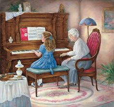 Piano Lessons - original oil by Paula Vaughan. This is so sweet! I this painting :) Piano Y Violin, Piano Art, Illustrations, Illustration Art, Piano Lessons For Beginners, Grands Parents, Childhood Memories, Cross Stitch, Nancy Noel