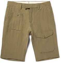 <a href='http://www.mrporter.com/mens/Designers/Ralph_Lauren_Purple_Label'>Ralph Lauren Purple Label</a>'s Italian-made cargo shorts are a refined take on the safari-inspired style. Made from a fine linen and silk-blend, they're cut straight and detailed with an array of pockets. The muted mushroom hue has green undertones that ensure versatility.