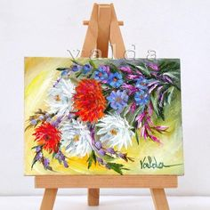 Assortment Of Flowers 3x4 original miniature oil
