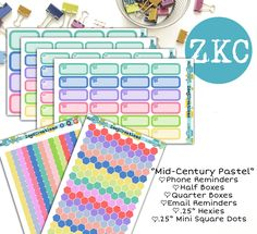 Mid-Century Pastel Planner Stickers | Half Boxes | Mini Hexies | Mini Square Dots | Email Reminder | Blank Quarter Boxes | Phone Reminder by ZoeKCreations on Etsy