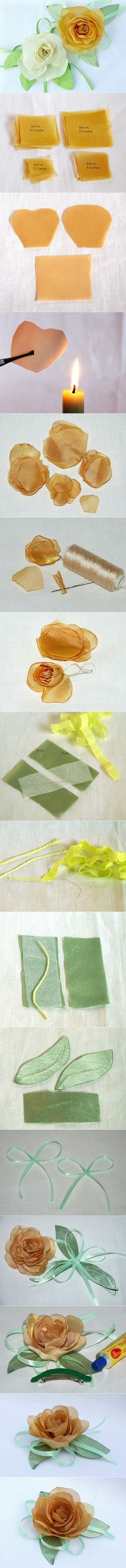silk ribbon rose tutorial