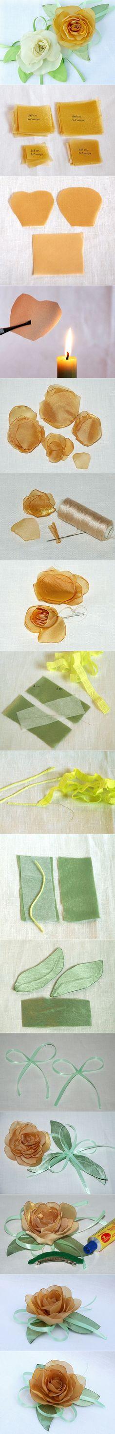 Chiffon rose tutorial http://www.fabartdiy.com/diy-chiffon-rose-master-class/