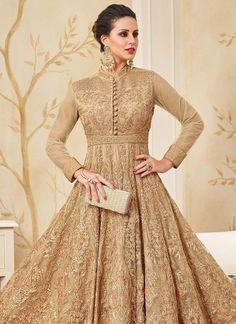 Beige Net Abaya Style Anarkali Suit - An Amazing Deals Everyday