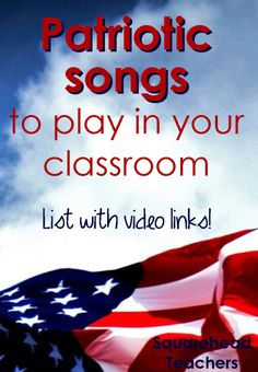 Patriotic song list sticker patriotic songs list, fourth of july songs, patriotic crafts, Patriotic Songs For Kids, Fourth Of July Songs, Patriotic Crafts, July Crafts, Preschool Music, Music Activities, Teaching Music, Preschool Class, Music Games