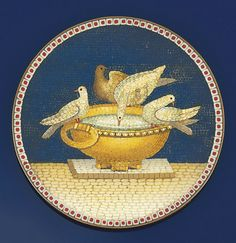 An early 19th century Italian micromosaic  The circular copper plaque depicting the Capitoline Doves, the four doves seated on a basin resting on a plinth against a blue ground, circa 1825