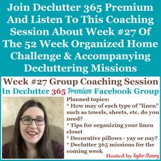 Join Declutter 365 premium and listen to this coaching session about Week #26 of the 52 Week Organized Home Challenge and accompanying decluttering missions, with a discussion of decluttering and organizing your linen closet {on Home Storage Solutions 101} Home Organization Hacks, Paper Organization, Organizing Your Home, Organizing Tips, Cleaning Tips, Financial Organization, Organizing Coupons, Jewelry Organization, Kitchen Organization