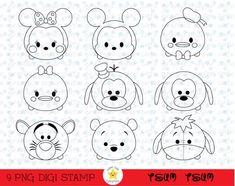 This item is unavailable Cute Disney Drawings, Cute Cartoon Drawings, Easy Drawings, Disney Diy, Disney Crafts, Tsum Tsum Coloring Pages, Fun Crafts, Paper Crafts, Tsumtsum