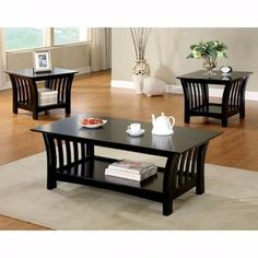 3 Piece Halli Mission Style Accent Table Set Black - Furniture of America, Black Tie Black Coffee Table Sets, Coffee Table End Table Set, Pc Table, End Table Sets, White Coffee, Living Room Table Sets, Living Room Furniture, Modern Furniture, Living Area