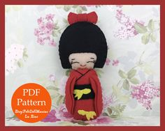 A personal favorite from my Etsy shop https://www.etsy.com/listing/514317162/japanese-kokeshi-doll-red-felt-doll-pdf