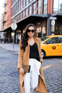 Long Camel Coat - Topshop coat // Topshop tank Topshop trousers // YSL clutch Stuart Weitzman heels // Michael Kors watch Monday, December 7, 2015