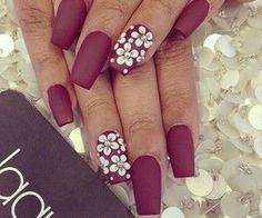 Matte bordeaux nails with white flowers. ||Theme bordeaux colours||
