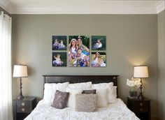 Canvas Gallery Wall Art for your Home Bed Photos, Bedroom Photos, Bedroom Art, Master Bedroom, Family Photos, Bedroom Ideas, Cozy Living Spaces, Wall Groupings, Above Bed