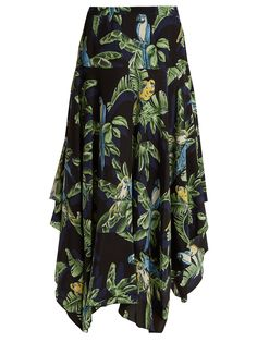 Asymmetric parrot-print silk midi skirt   Stella McCartney   MATCHESFASHION.COM US